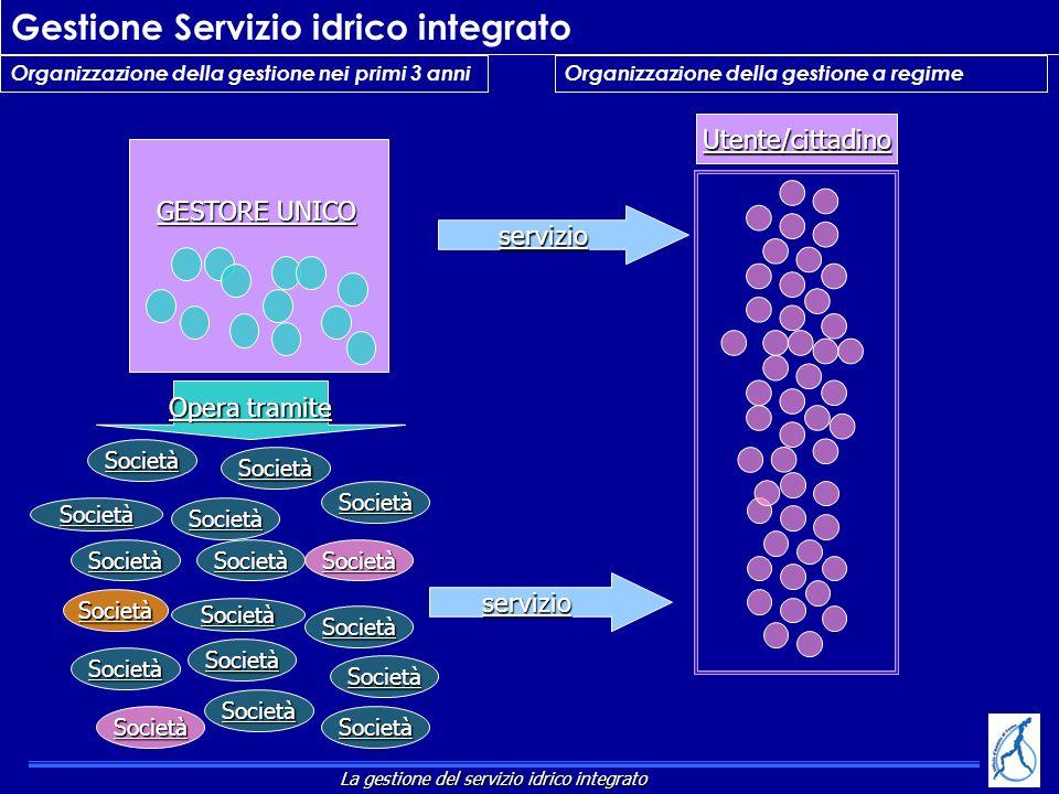 Organizzazione della gestione nei primi 3 anni Gestione Servizio idrico integrato Società Società Società Società Società Società Società Società Soci