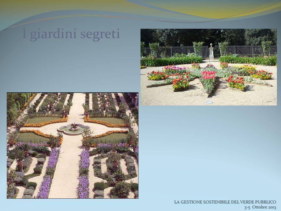 I giardini segreti LA GESTIONE SOSTENIBILE DEL VERDE PUBBLICO 3-5 Ottobre 2013 3-5 Ottobre 2013