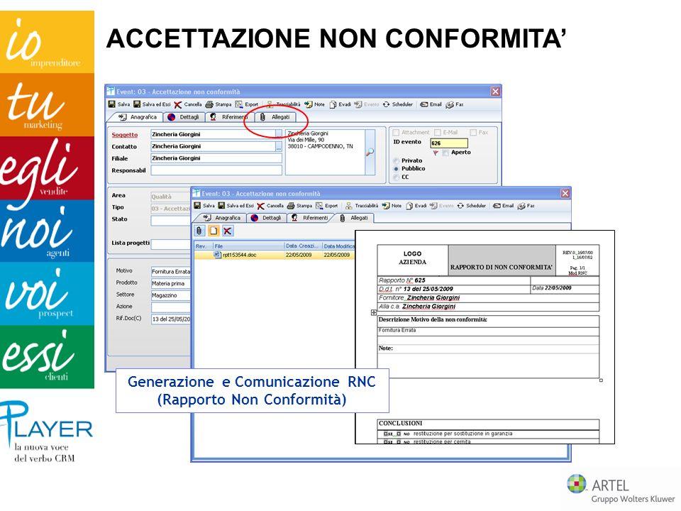 ACCETTAZIONE NON CONFORMITA Generazione e Comunicazione RNC (Rapporto Non Conformità)
