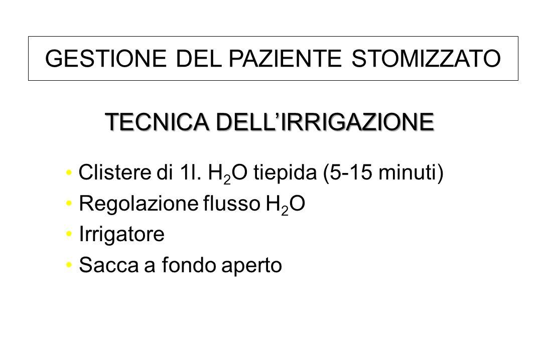 Clistere di 1l. H 2 O tiepida (5-15 minuti) Regolazione flusso H 2 O Irrigatore Sacca a fondo aperto TECNICA DELLIRRIGAZIONE GESTIONE DEL PAZIENTE STO