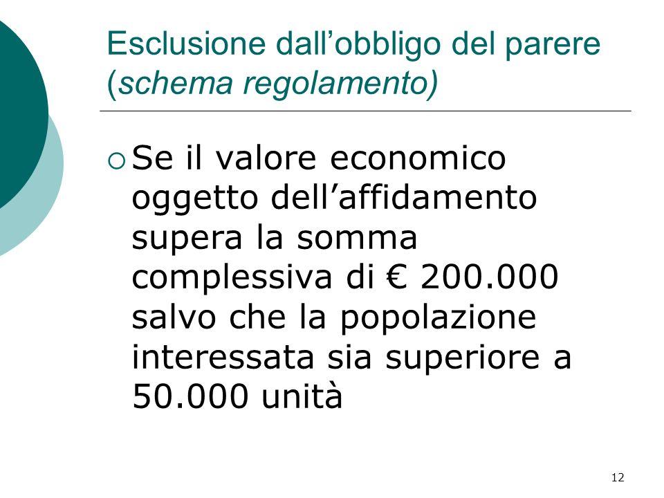 12 Esclusione dallobbligo del parere (schema regolamento) Se il valore economico oggetto dellaffidamento supera la somma complessiva di 200.000 salvo che la popolazione interessata sia superiore a 50.000 unità