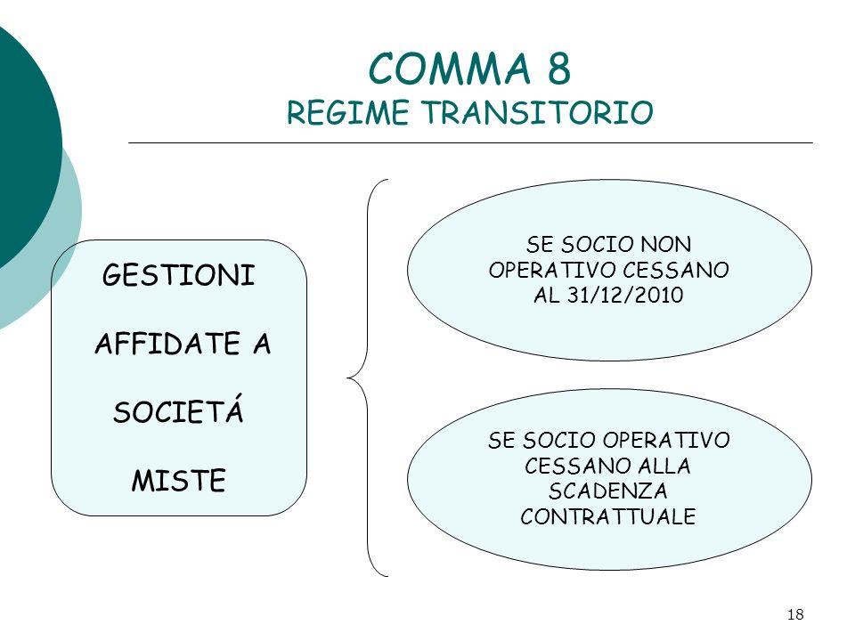 18 COMMA 8 REGIME TRANSITORIO GESTIONI AFFIDATE A SOCIETÁ MISTE SE SOCIO NON OPERATIVO CESSANO AL 31/12/2010 SE SOCIO OPERATIVO CESSANO ALLA SCADENZA