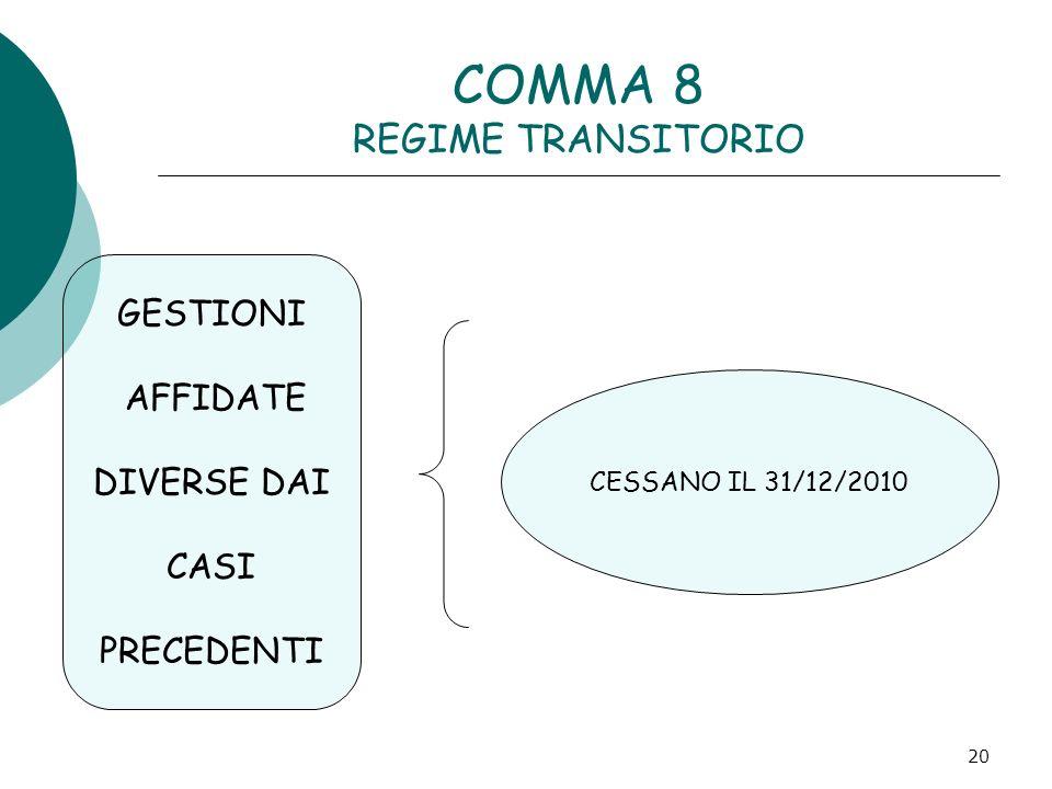 20 COMMA 8 REGIME TRANSITORIO GESTIONI AFFIDATE DIVERSE DAI CASI PRECEDENTI CESSANO IL 31/12/2010