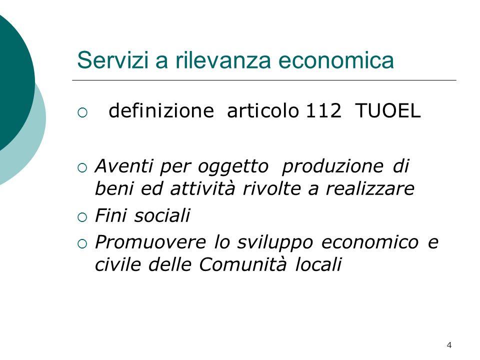 4 Servizi a rilevanza economica definizione articolo 112 TUOEL Aventi per oggetto produzione di beni ed attività rivolte a realizzare Fini sociali Promuovere lo sviluppo economico e civile delle Comunità locali
