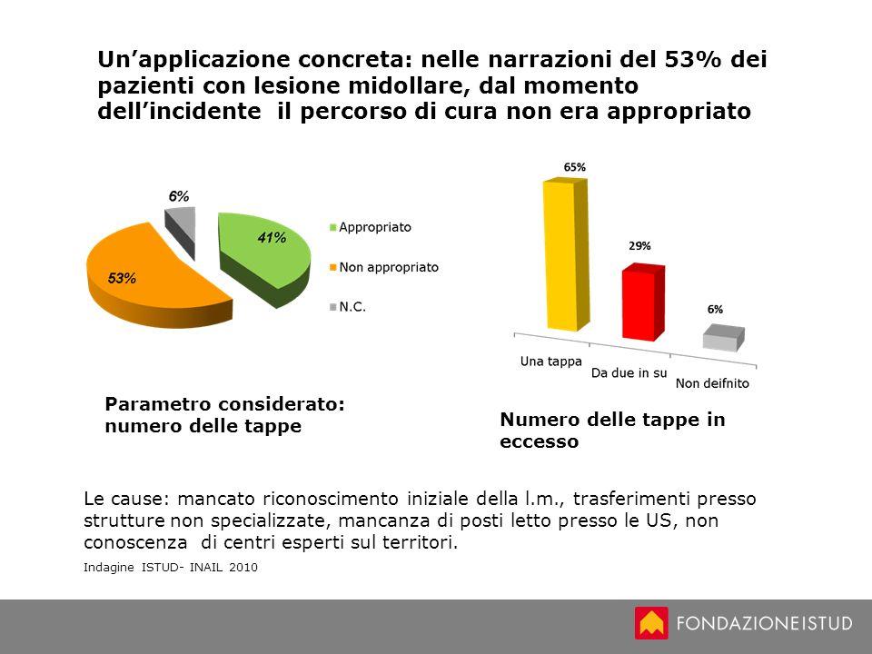 Unapplicazione concreta: nelle narrazioni del 53% dei pazienti con lesione midollare, dal momento dellincidente il percorso di cura non era appropriat