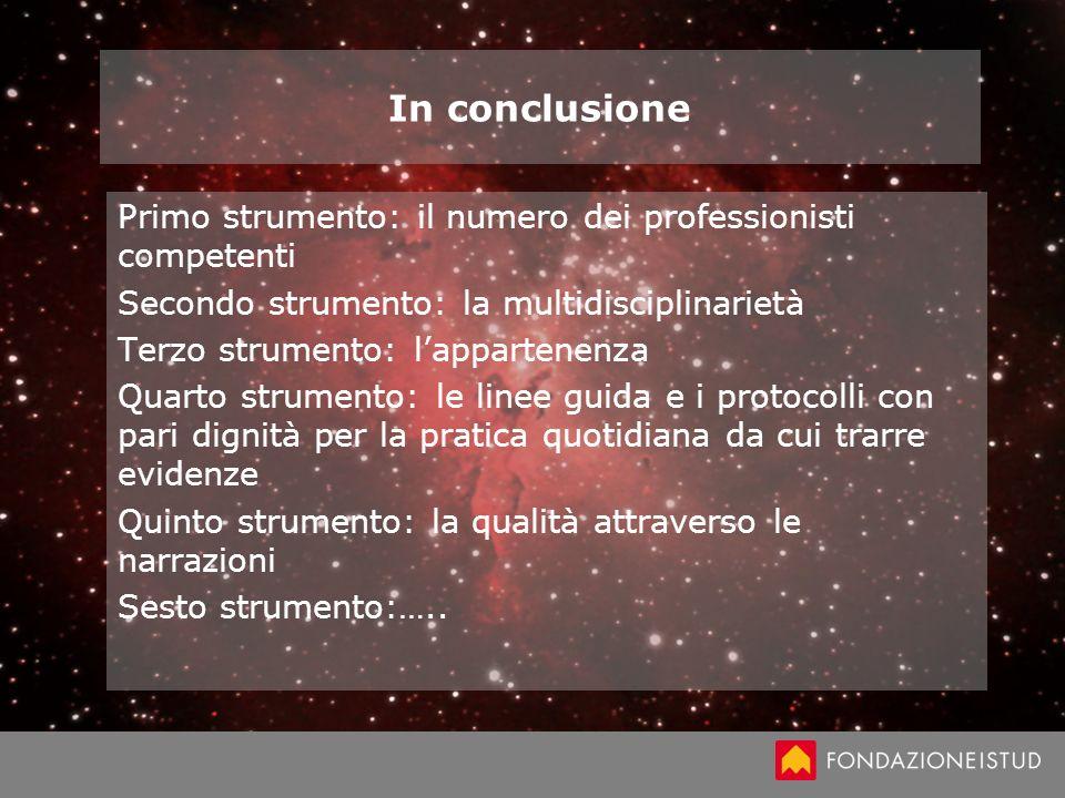 In conclusione Primo strumento: il numero dei professionisti competenti Secondo strumento: la multidisciplinarietà Terzo strumento: lappartenenza Quar