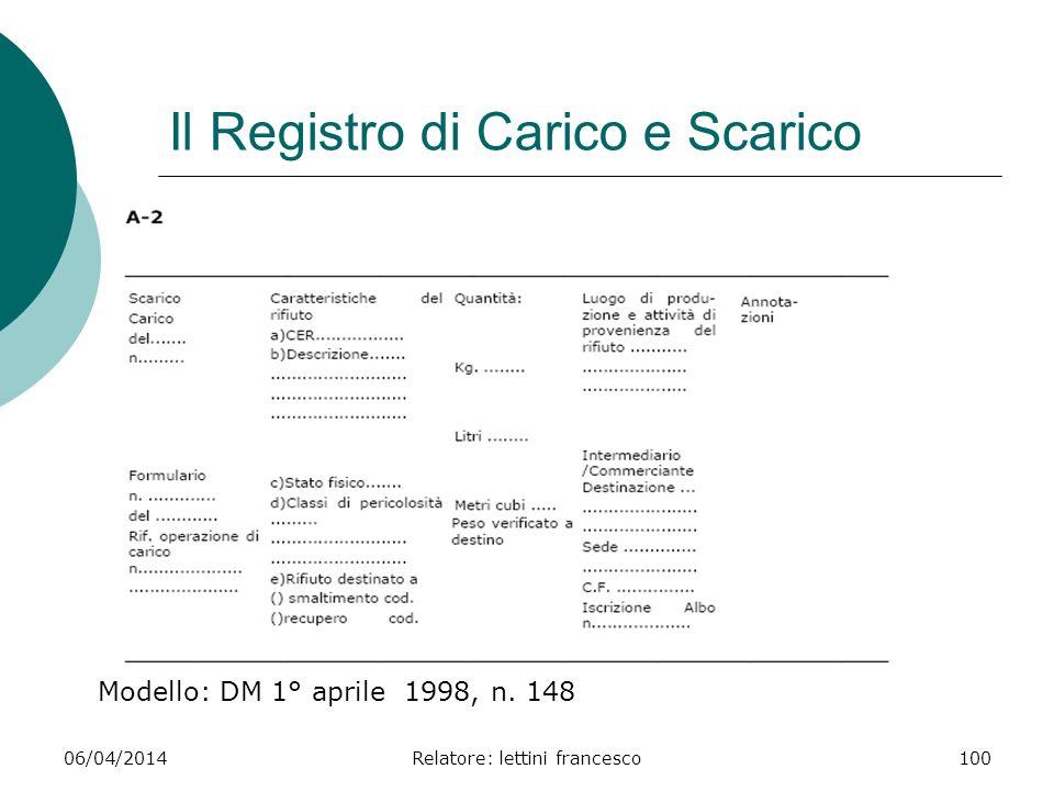 06/04/2014Relatore: lettini francesco100 Il Registro di Carico e Scarico Modello: DM 1° aprile 1998, n. 148