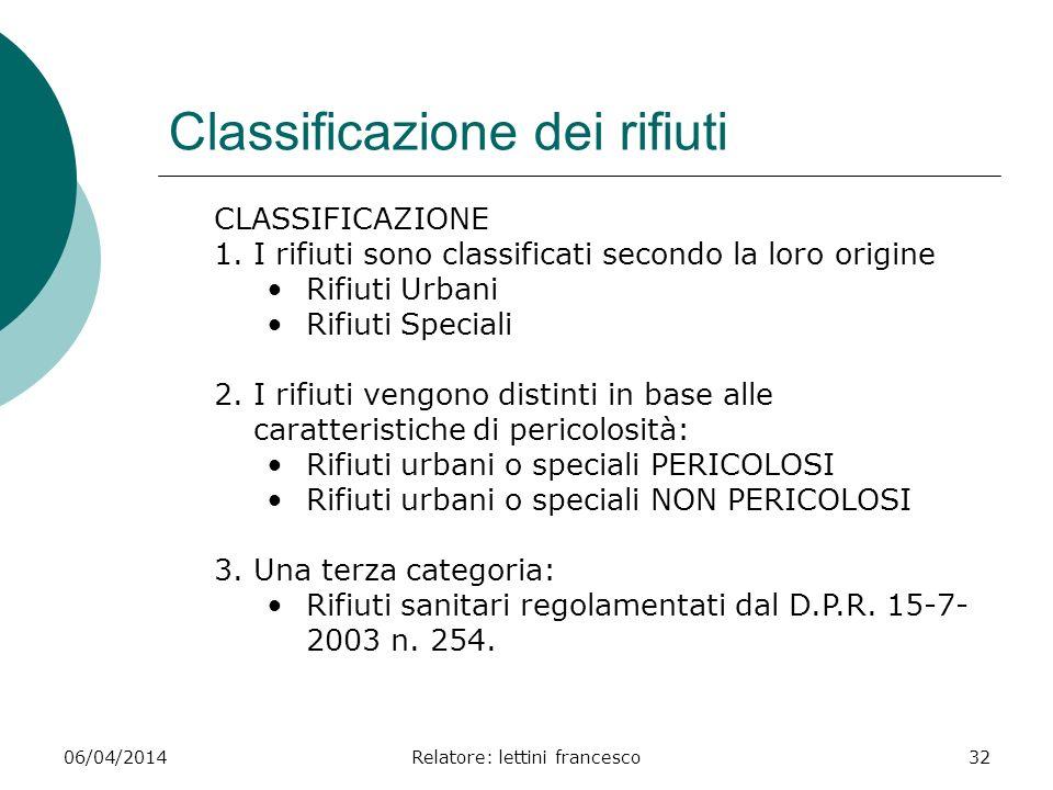 06/04/2014Relatore: lettini francesco32 Classificazione dei rifiuti CLASSIFICAZIONE 1.I rifiuti sono classificati secondo la loro origine Rifiuti Urba