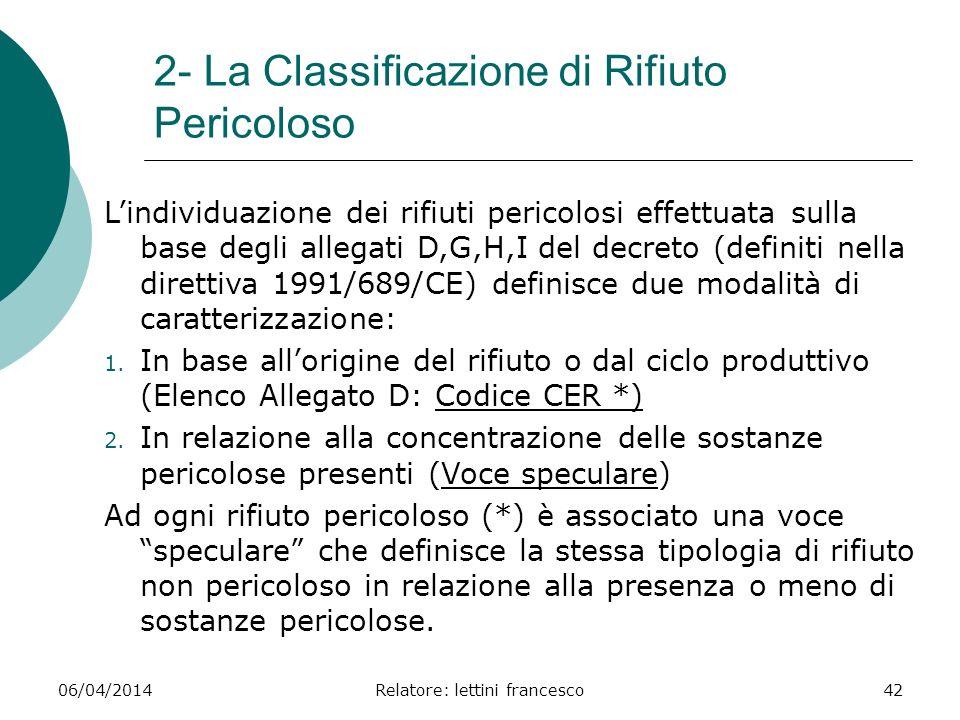 06/04/2014Relatore: lettini francesco42 2- La Classificazione di Rifiuto Pericoloso Lindividuazione dei rifiuti pericolosi effettuata sulla base degli