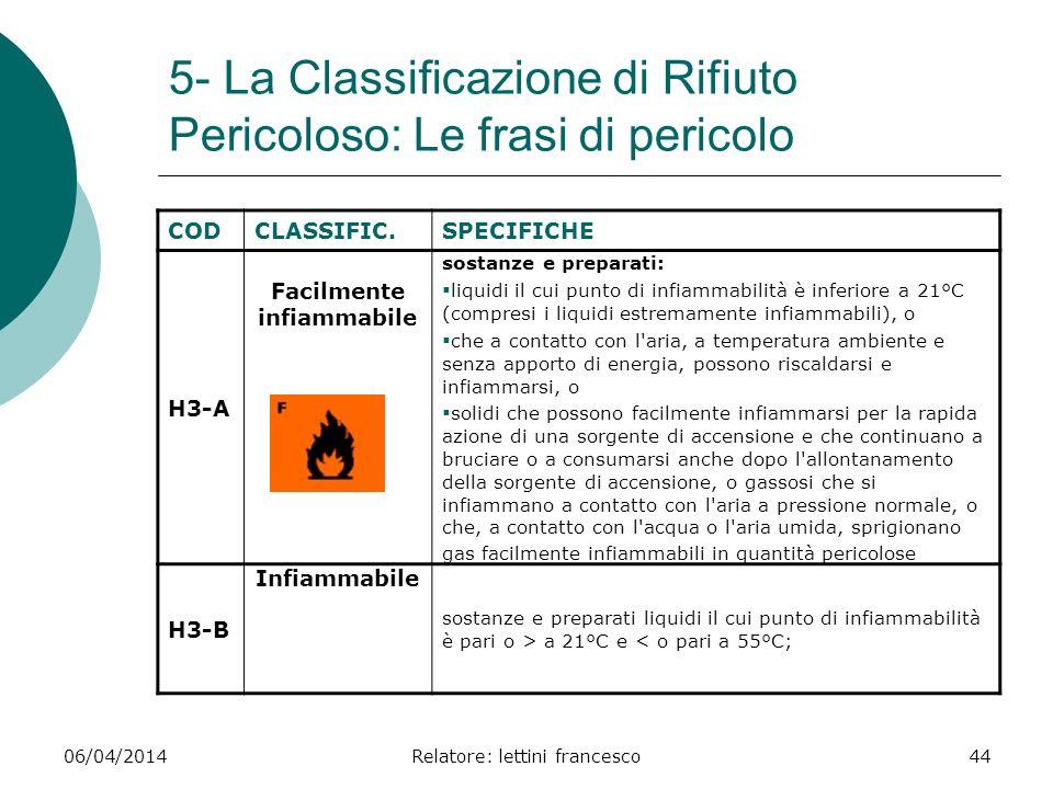 06/04/2014Relatore: lettini francesco44 5- La Classificazione di Rifiuto Pericoloso: Le frasi di pericolo CODCLASSIFIC.SPECIFICHE H3-A Facilmente infi