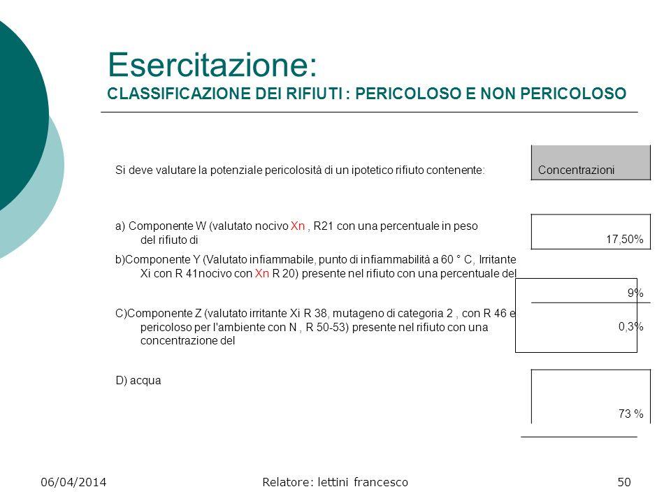 06/04/2014Relatore: lettini francesco50 Esercitazione: CLASSIFICAZIONE DEI RIFIUTI : PERICOLOSO E NON PERICOLOSO Si deve valutare la potenziale perico