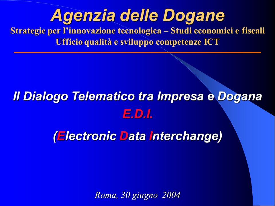 Agenzia delle Dogane Strategie per linnovazione tecnologica – Studi economici e fiscali Ufficio qualità e sviluppo competenze ICT Il Dialogo Telematic