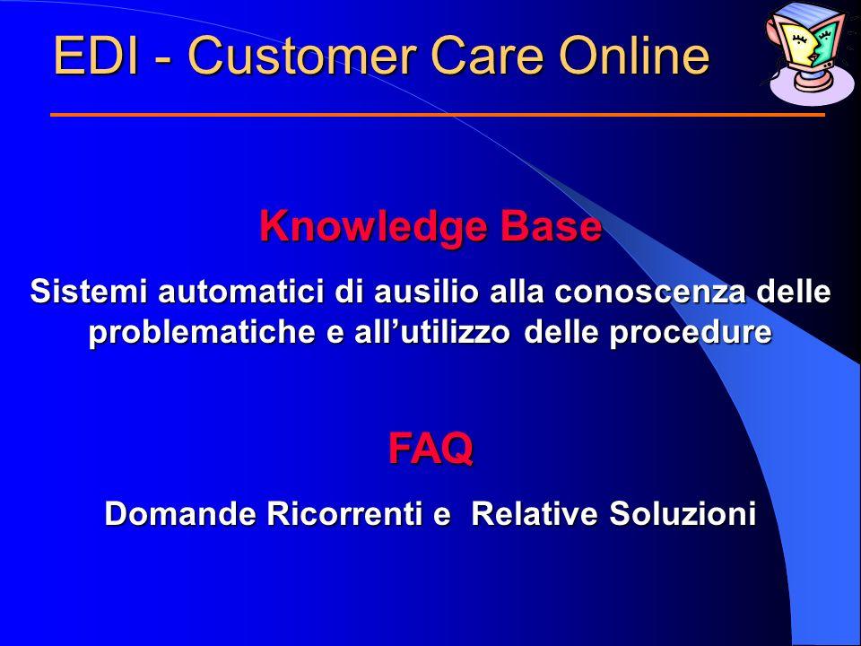 EDI - Customer Care Online Knowledge Base Sistemi automatici di ausilio alla conoscenza delle problematiche e allutilizzo delle procedure FAQ Domande