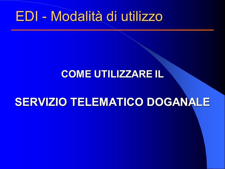 COME UTILIZZARE IL SERVIZIO TELEMATICO DOGANALE EDI - Modalità di utilizzo