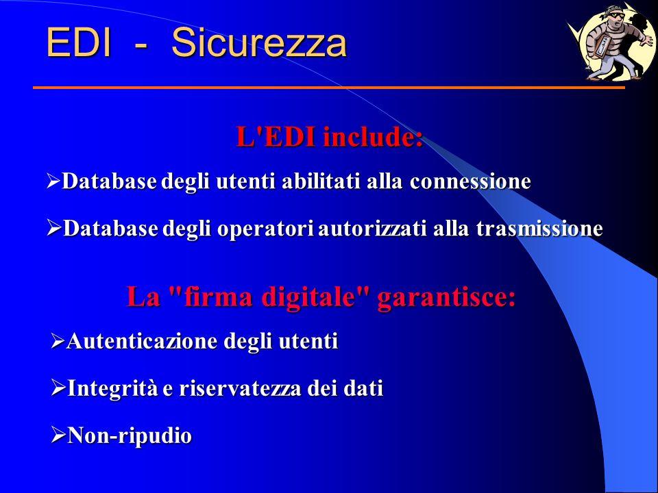 EDI - Sicurezza L'EDI include: Database degli utenti abilitati alla connessione Database degli operatori autorizzati alla trasmissione Database degli