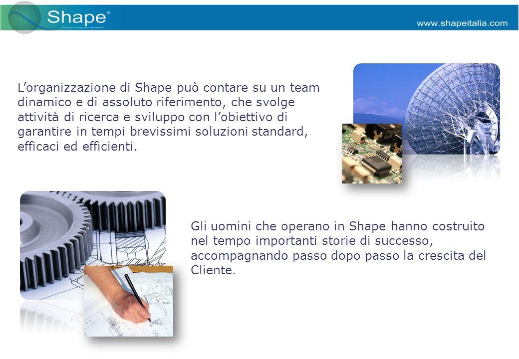 Lorganizzazione di Shape può contare su un team dinamico e di assoluto riferimento, che svolge attività di ricerca e sviluppo con lobiettivo di garantire in tempi brevissimi soluzioni standard, efficaci ed efficienti.