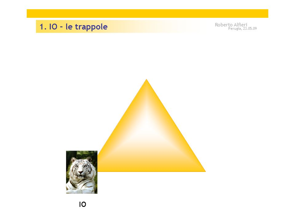 IO 1. IO – le trappole Roberto Alfieri Perugia, 23.05.09