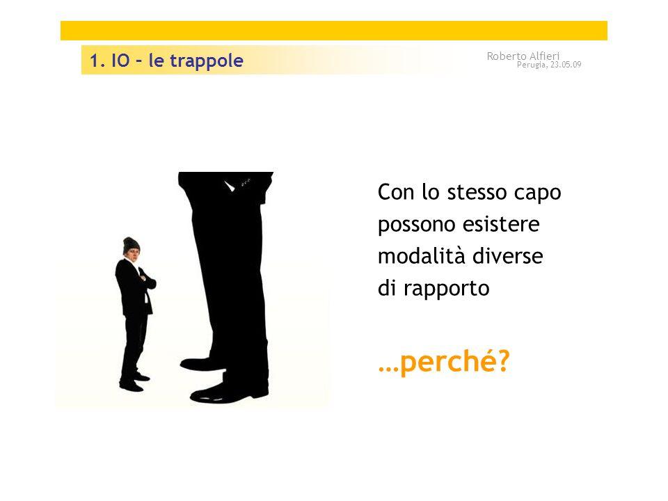 Con lo stesso capo possono esistere modalità diverse di rapporto …perché? 1. IO – le trappole Roberto Alfieri Perugia, 23.05.09