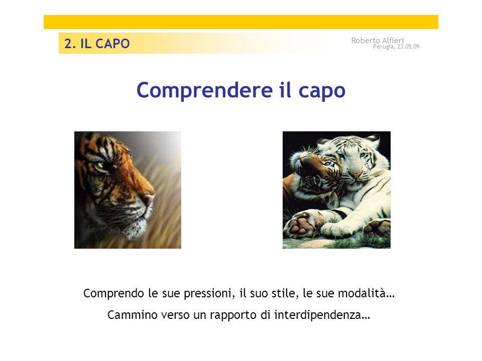 Comprendere il capo Comprendo le sue pressioni, il suo stile, le sue modalità… Cammino verso un rapporto di interdipendenza… 2. IL CAPO Roberto Alfier