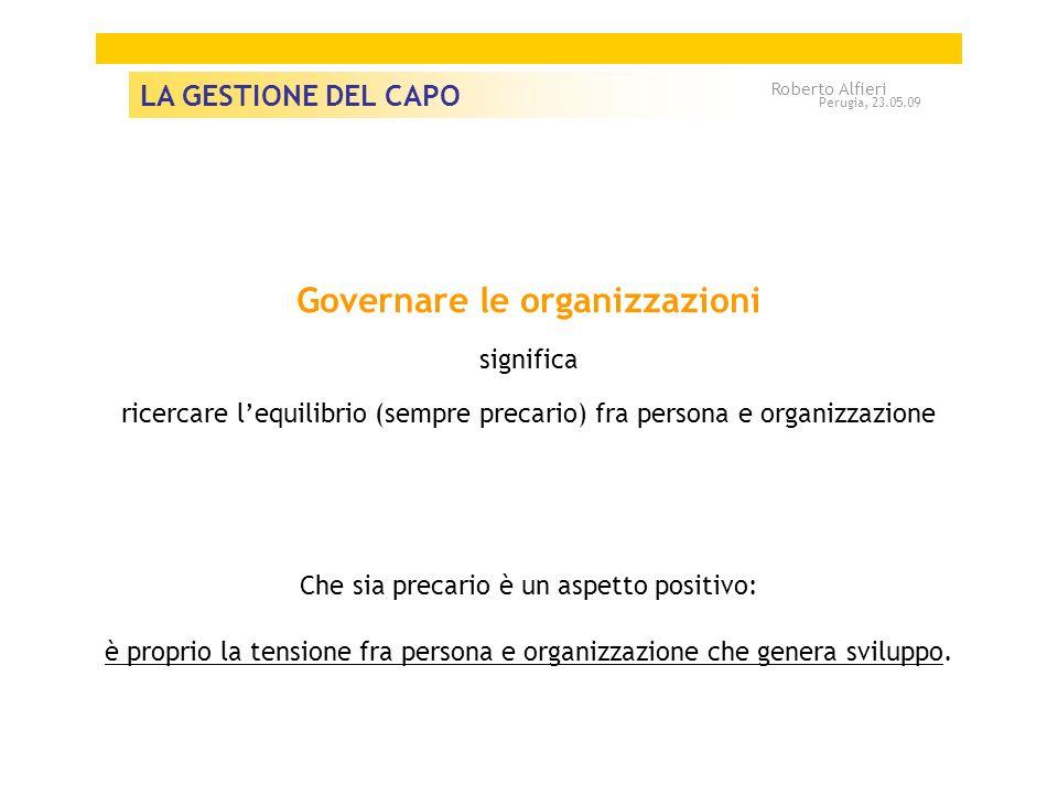 Governare le organizzazioni significa ricercare lequilibrio (sempre precario) fra persona e organizzazione Che sia precario è un aspetto positivo: è proprio la tensione fra persona e organizzazione che genera sviluppo.