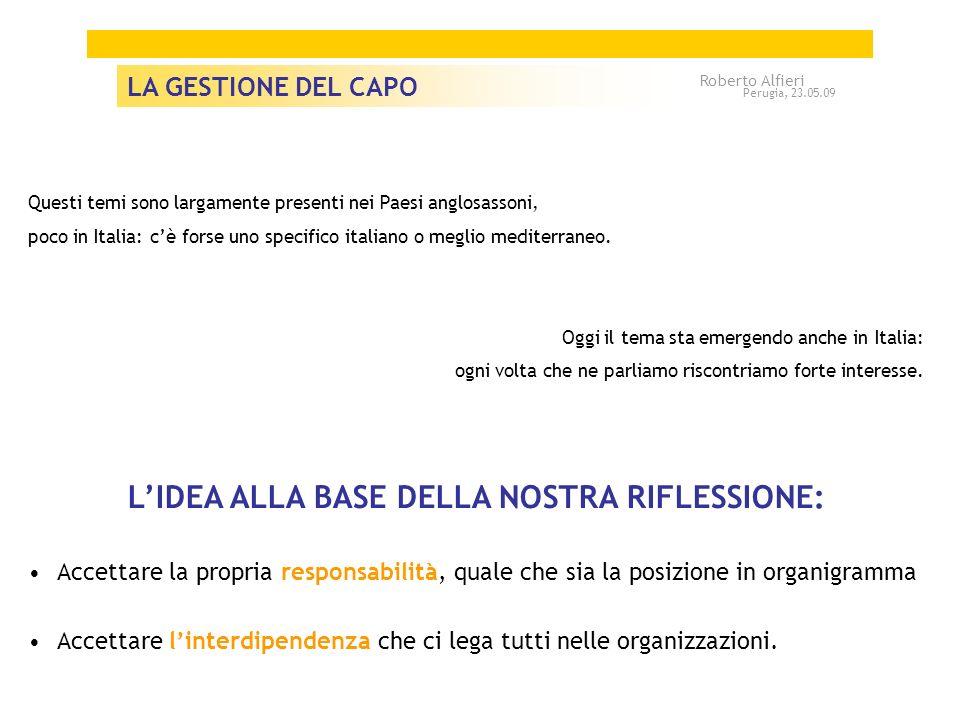 CAPO A A IO trappole / schemi 2. IL CAPO Roberto Alfieri Perugia, 23.05.09