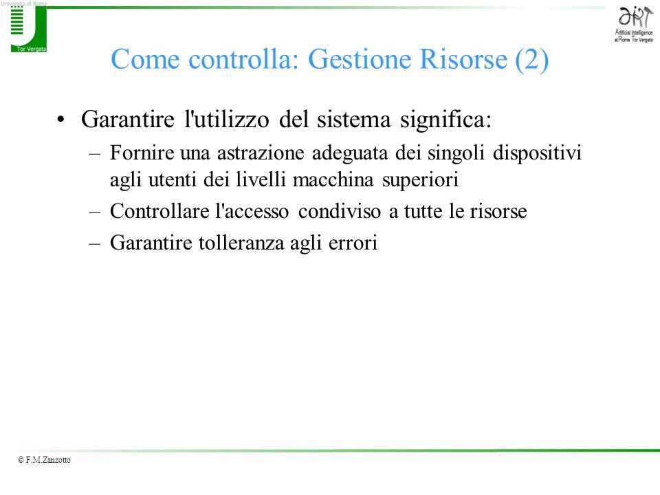 © F.M.Zanzotto Come controlla: Gestione Risorse (2) Garantire l'utilizzo del sistema significa: –Fornire una astrazione adeguata dei singoli dispositi