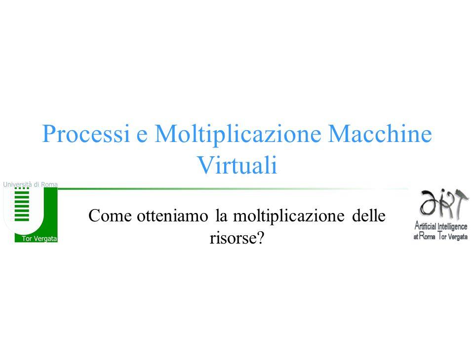 Processi e Moltiplicazione Macchine Virtuali Come otteniamo la moltiplicazione delle risorse?