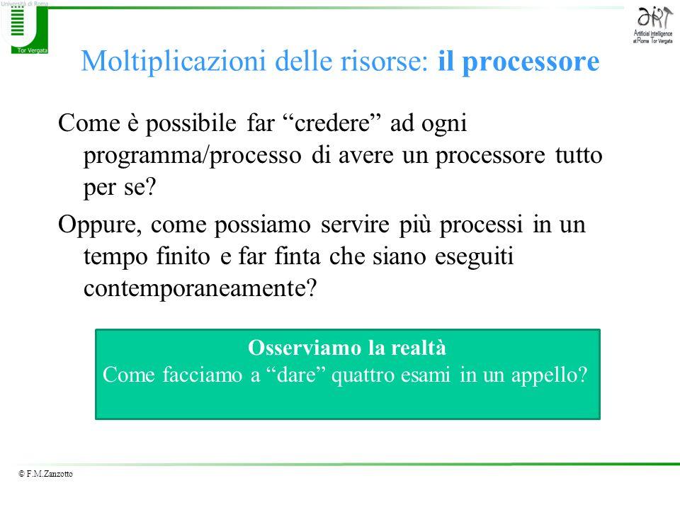 © F.M.Zanzotto Moltiplicazioni delle risorse: il processore Come è possibile far credere ad ogni programma/processo di avere un processore tutto per s