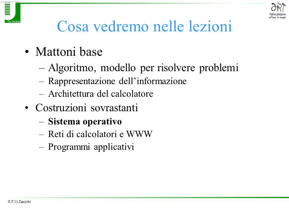 © F.M.Zanzotto Cosa vedremo nelle lezioni Mattoni base –Algoritmo, modello per risolvere problemi –Rappresentazione dellinformazione –Architettura del