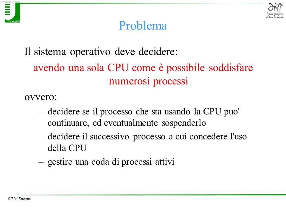 © F.M.Zanzotto Problema Il sistema operativo deve decidere: avendo una sola CPU come è possibile soddisfare numerosi processi ovvero: –decidere se il