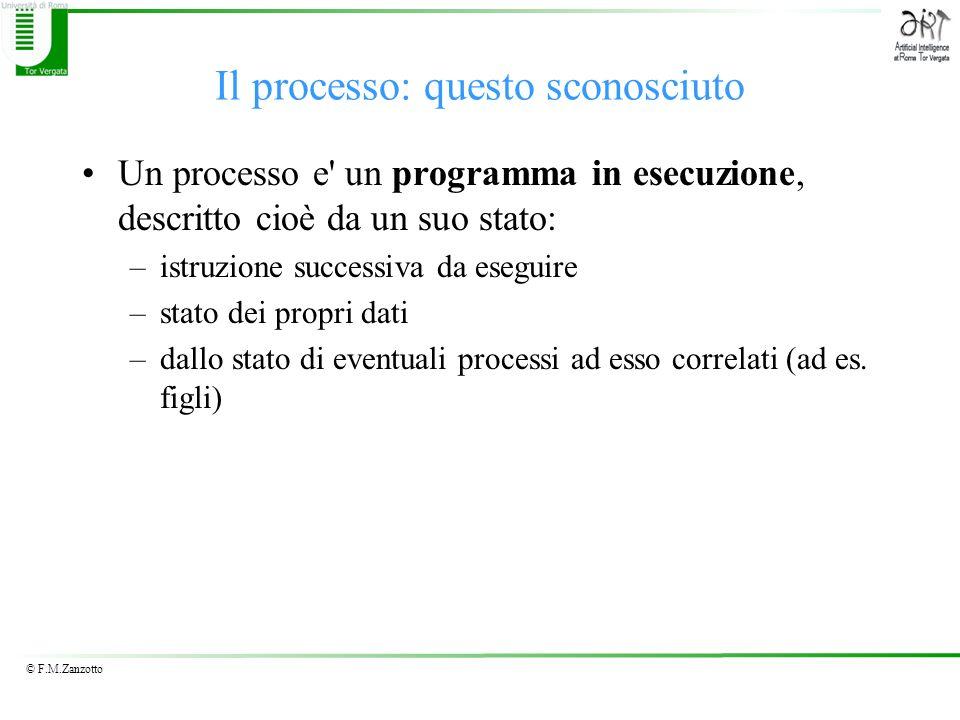© F.M.Zanzotto Il processo: questo sconosciuto Un processo e' un programma in esecuzione, descritto cioè da un suo stato: –istruzione successiva da es