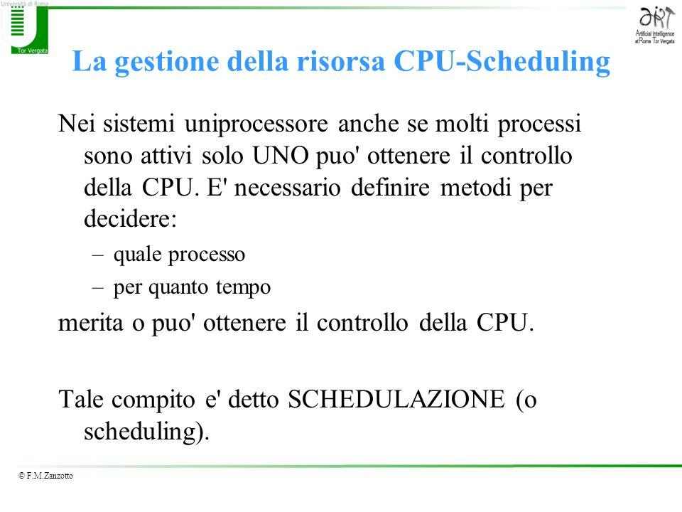 © F.M.Zanzotto La gestione della risorsa CPU-Scheduling Nei sistemi uniprocessore anche se molti processi sono attivi solo UNO puo' ottenere il contro
