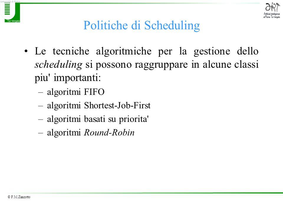 © F.M.Zanzotto Politiche di Scheduling Le tecniche algoritmiche per la gestione dello scheduling si possono raggruppare in alcune classi piu' importan