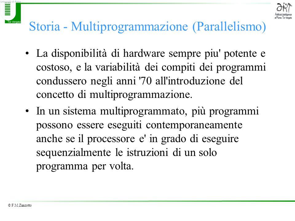 © F.M.Zanzotto Storia - Multiprogrammazione (Parallelismo) La disponibilità di hardware sempre piu' potente e costoso, e la variabilità dei compiti de