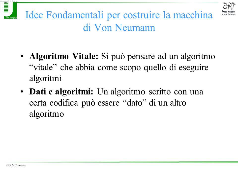 © F.M.Zanzotto Idee Fondamentali per costruire la macchina di Von Neumann Algoritmo Vitale: Si può pensare ad un algoritmo vitale che abbia come scopo