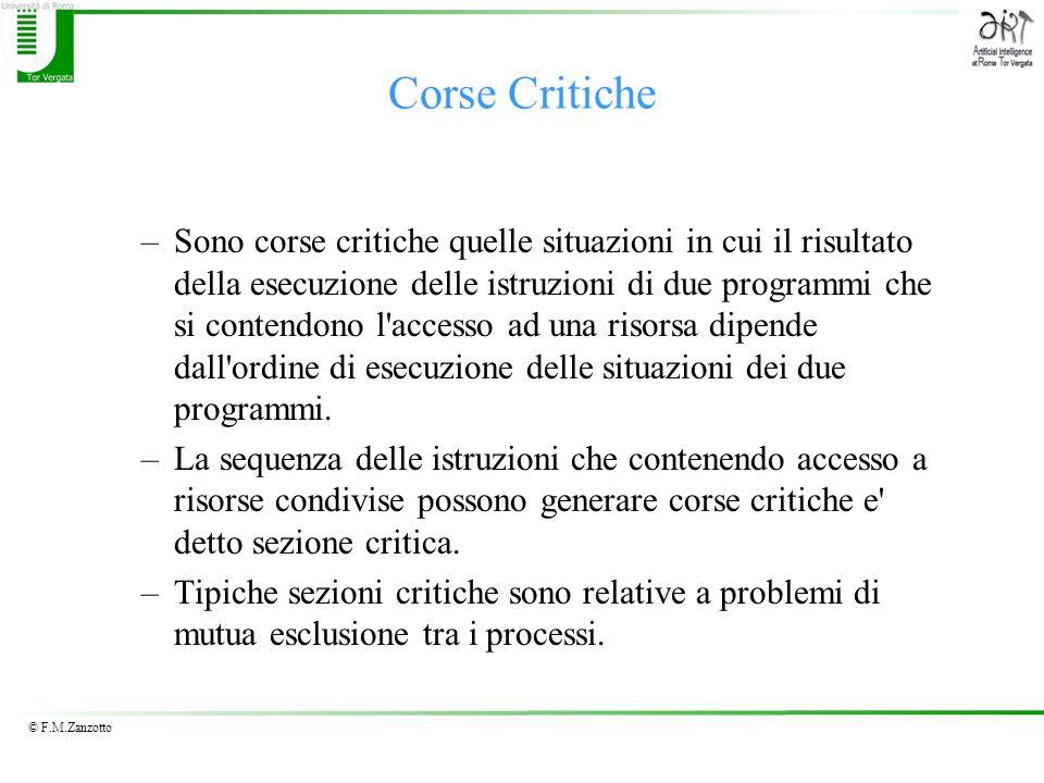 © F.M.Zanzotto Corse Critiche –Sono corse critiche quelle situazioni in cui il risultato della esecuzione delle istruzioni di due programmi che si con