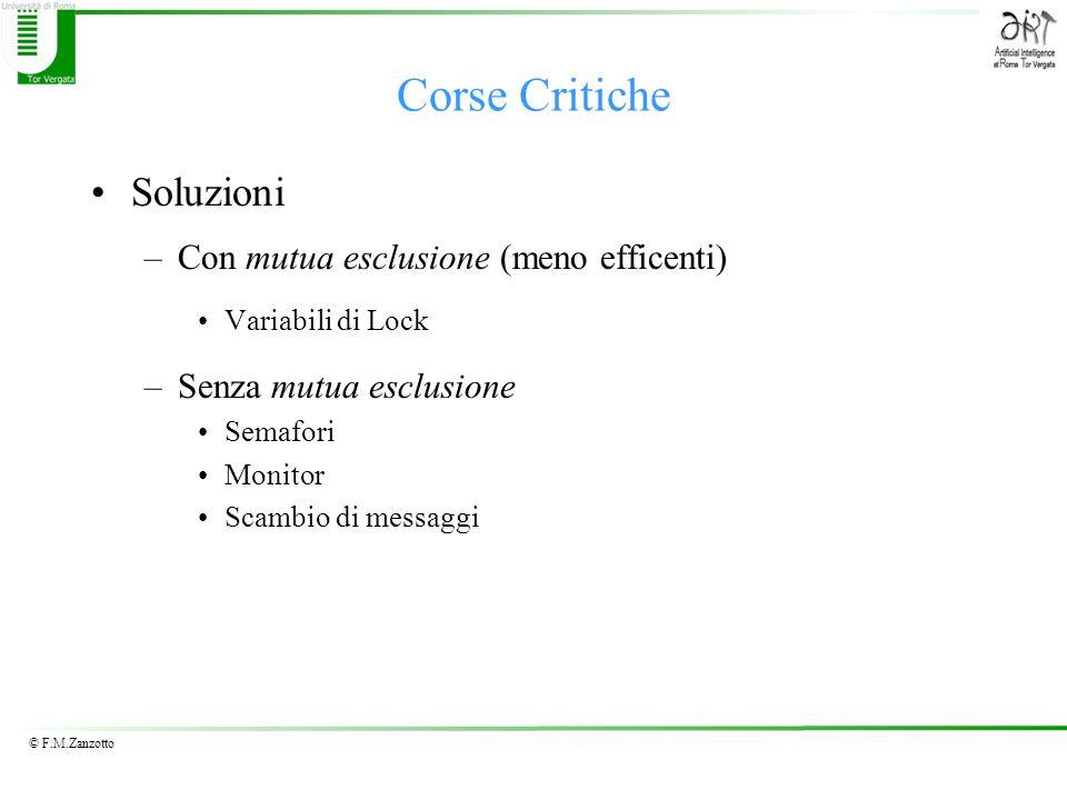 © F.M.Zanzotto Corse Critiche Soluzioni –Con mutua esclusione (meno efficenti) Variabili di Lock –Senza mutua esclusione Semafori Monitor Scambio di m