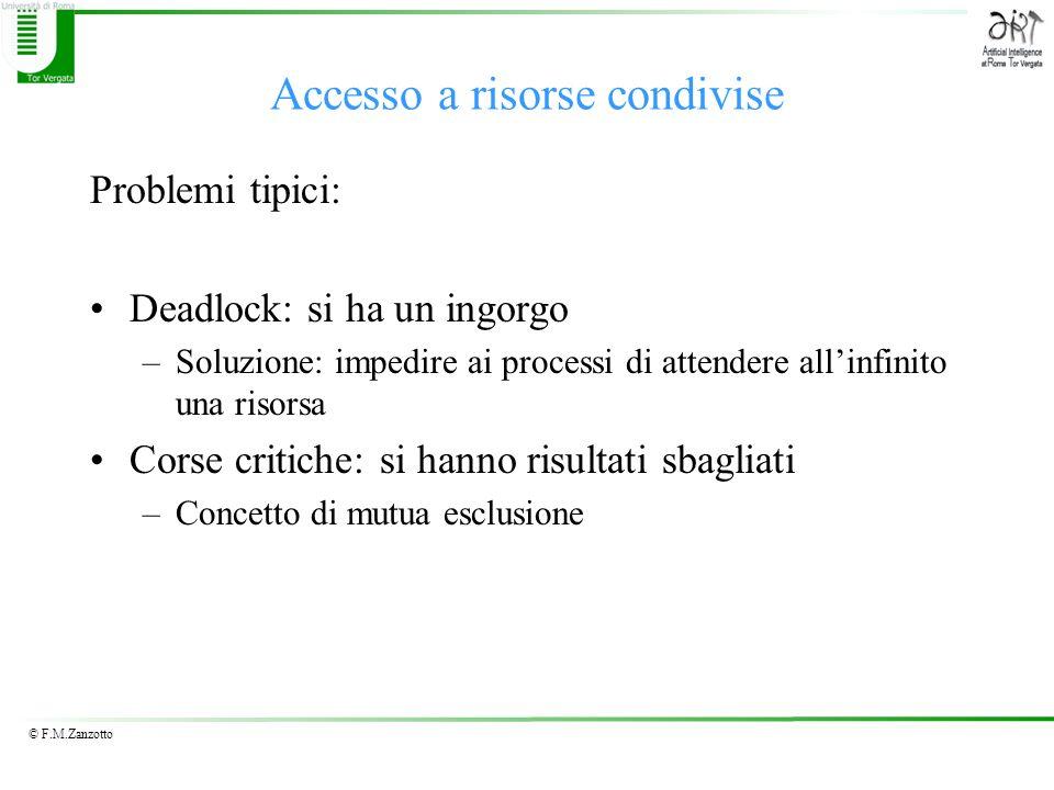 © F.M.Zanzotto Accesso a risorse condivise Problemi tipici: Deadlock: si ha un ingorgo –Soluzione: impedire ai processi di attendere allinfinito una r