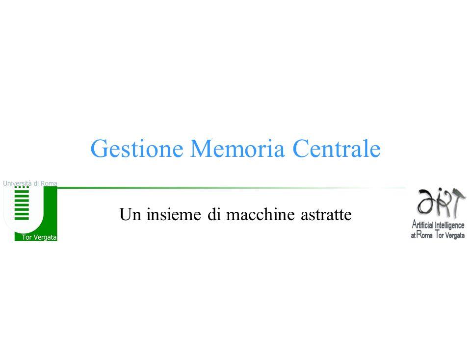 Gestione Memoria Centrale Un insieme di macchine astratte