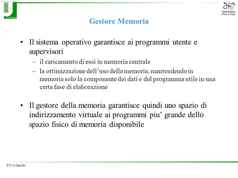 © F.M.Zanzotto Gestore Memoria Il sistema operativo garantisce ai programmi utente e supervisori –il caricamento di essi in memoria centrale –la ottim