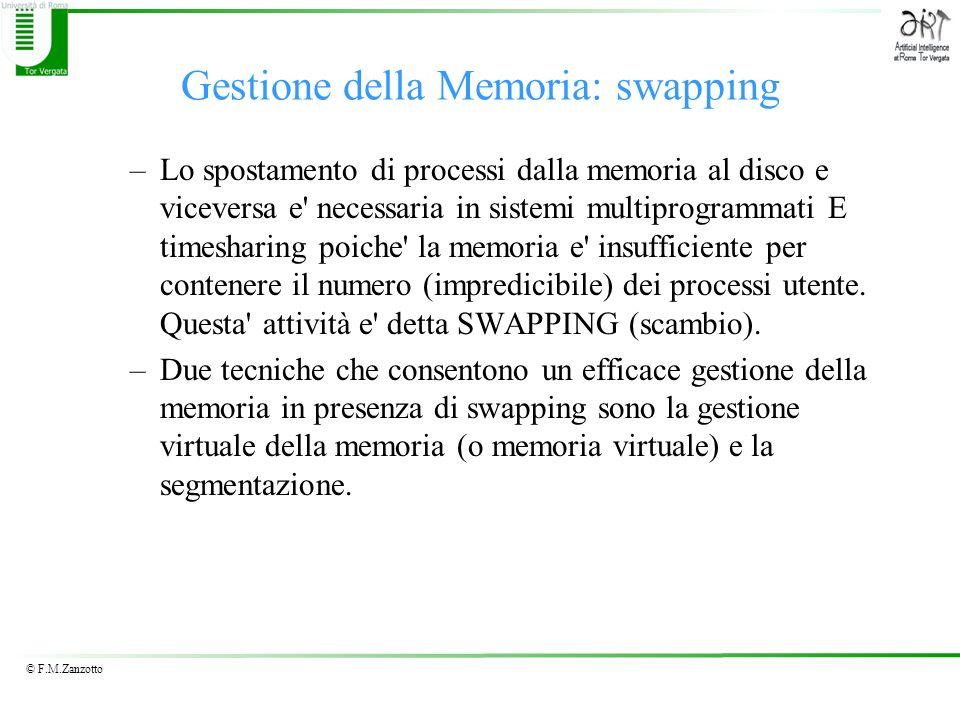 © F.M.Zanzotto Gestione della Memoria: swapping –Lo spostamento di processi dalla memoria al disco e viceversa e' necessaria in sistemi multiprogramma