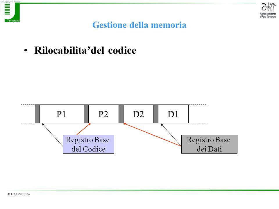© F.M.Zanzotto Gestione della memoria Rilocabilitadel codice P1D2D1P2 Registro Base del Codice Registro Base dei Dati