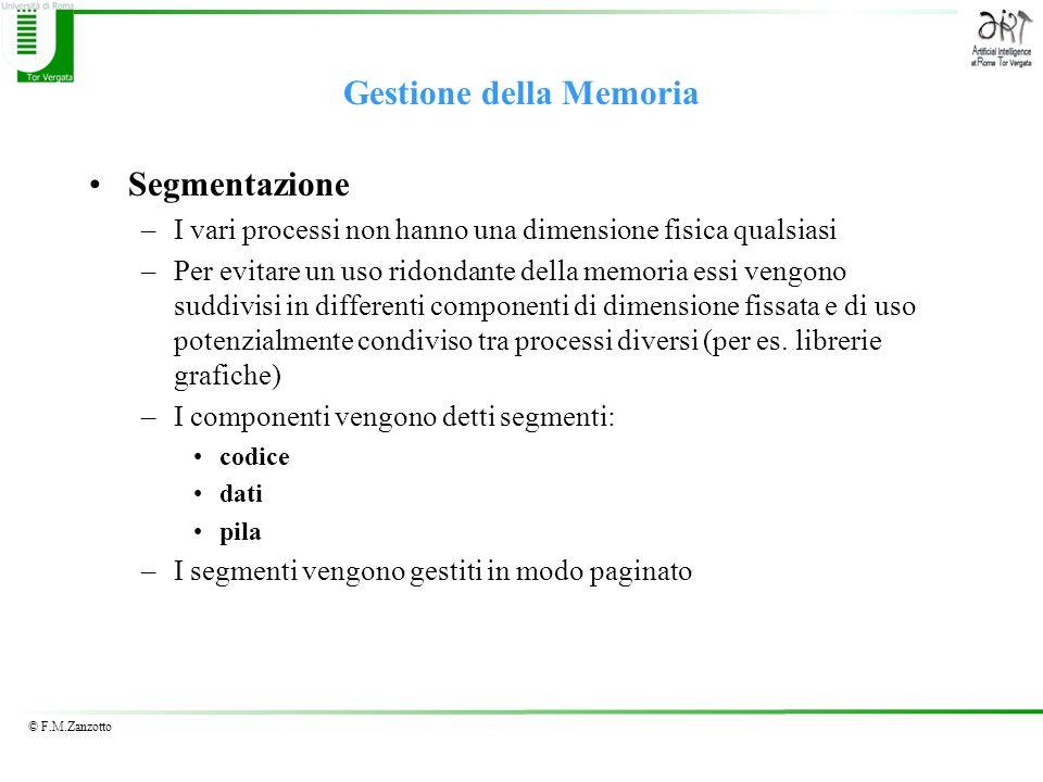 © F.M.Zanzotto Gestione della Memoria Segmentazione –I vari processi non hanno una dimensione fisica qualsiasi –Per evitare un uso ridondante della me