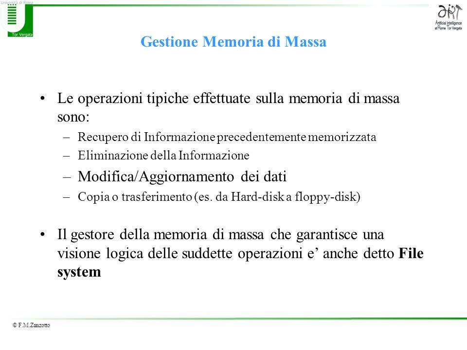 © F.M.Zanzotto Gestione Memoria di Massa Le operazioni tipiche effettuate sulla memoria di massa sono: –Recupero di Informazione precedentemente memor