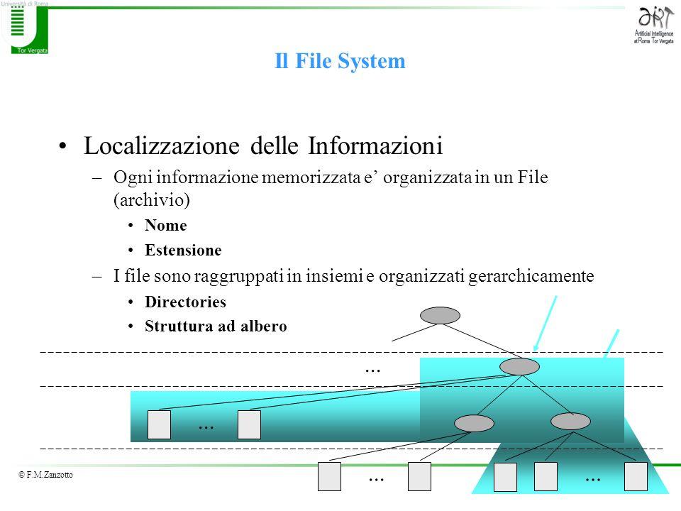 © F.M.Zanzotto Il File System Localizzazione delle Informazioni –Ogni informazione memorizzata e organizzata in un File (archivio) Nome Estensione –I