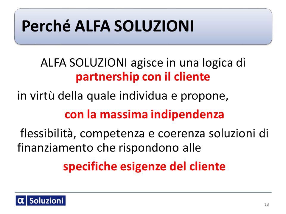 Perché ALFA SOLUZIONI ALFA SOLUZIONI agisce in una logica di partnership con il cliente in virtù della quale individua e propone, con la massima indip