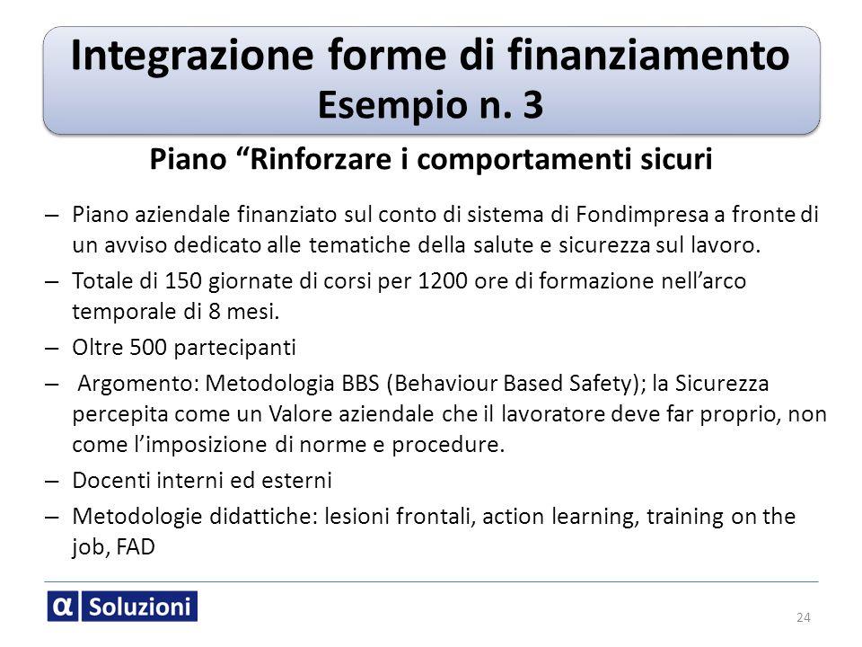 24 Piano Rinforzare i comportamenti sicuri – Piano aziendale finanziato sul conto di sistema di Fondimpresa a fronte di un avviso dedicato alle temati