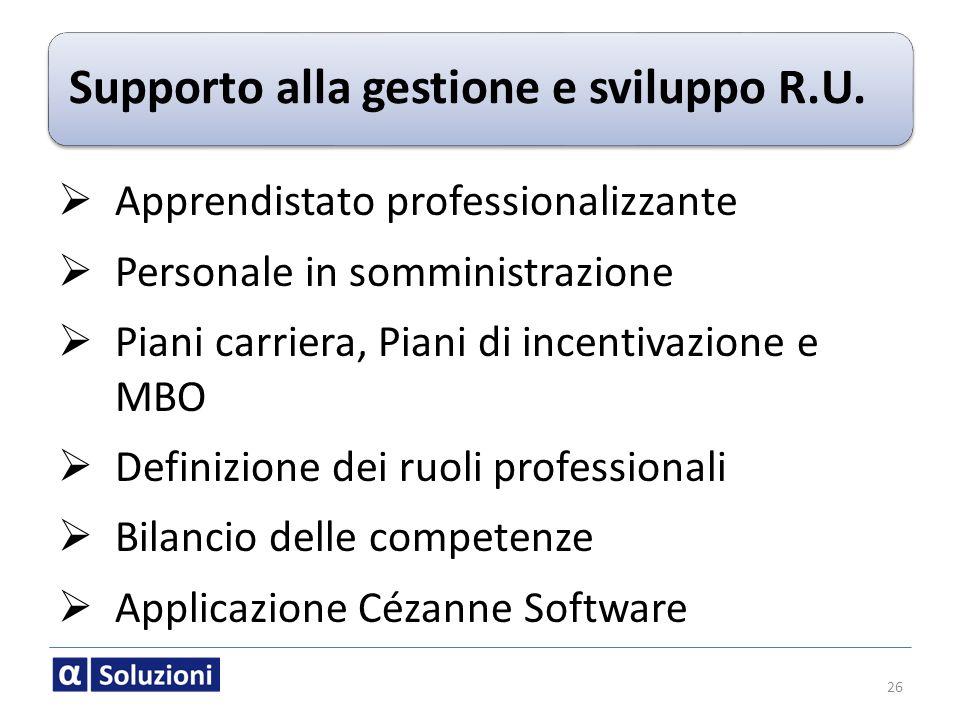 Supporto alla gestione e sviluppo R.U. 26 Apprendistato professionalizzante Personale in somministrazione Piani carriera, Piani di incentivazione e MB