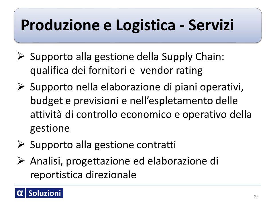 Produzione e Logistica - Servizi Supporto alla gestione della Supply Chain: qualifica dei fornitori e vendor rating Supporto nella elaborazione di pia