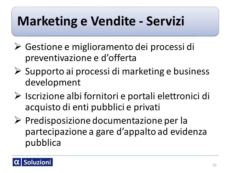 Marketing e Vendite - Servizi Gestione e miglioramento dei processi di preventivazione e dofferta Supporto ai processi di marketing e business develop